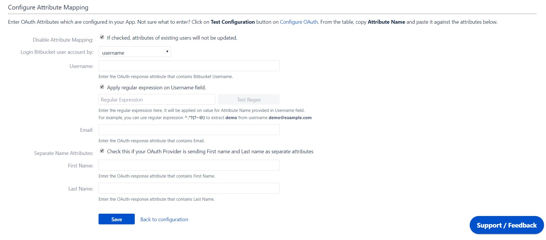 OAuth / OpenID Single Sign On (SSO) into Bitbucket Service Provider, Configure user profile attribute