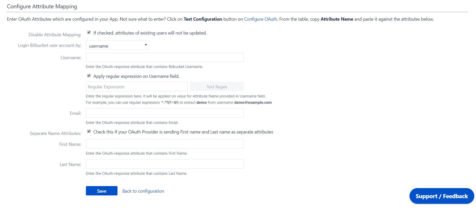 OAuth / OpenID Single Sign On (SSO) into Bitbucket Service Provider, Configure user profile attribute