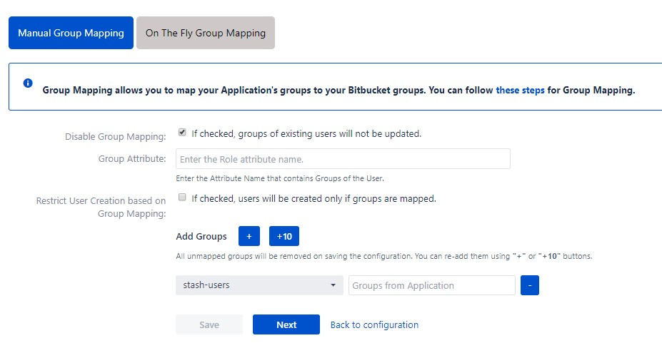 OAuth / OpenID Single Sign On (SSO) into Bitbucket Service Provider, Manual group mapping