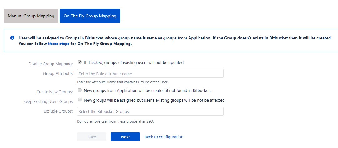 OAuth / OpenID Single Sign On (SSO) into Bitbucket Service Provider, On the fly group mapping