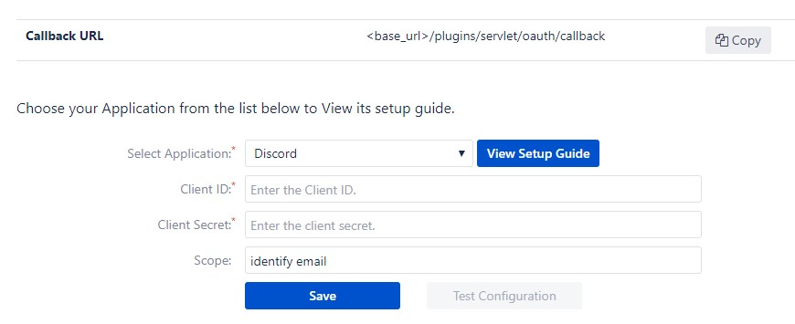 OAuth/OpenID Single Sign On (SSO) into Bitbucket Service Provider, Using Discord App - Configure OAuth tab