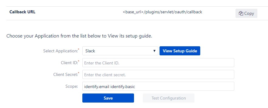 OAuth/OpenID Single Sign On (SSO) into Bitbucket using Slack- Configure OAuth tab