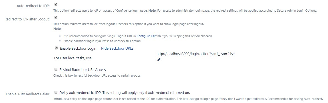 SAML Single Sign On (SSO) into Confluence, Auto redirect to IDP