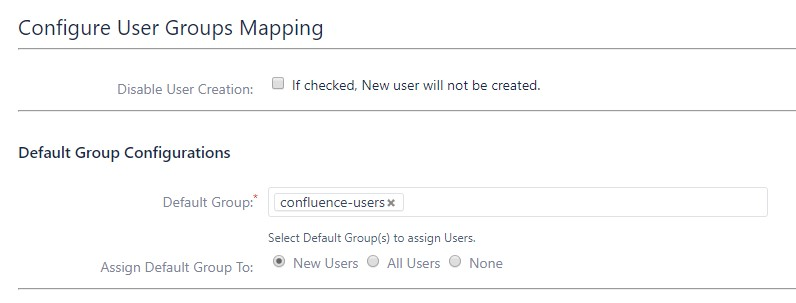 SAML Single Sign On (SSO) into Confluence, Default groups configuration