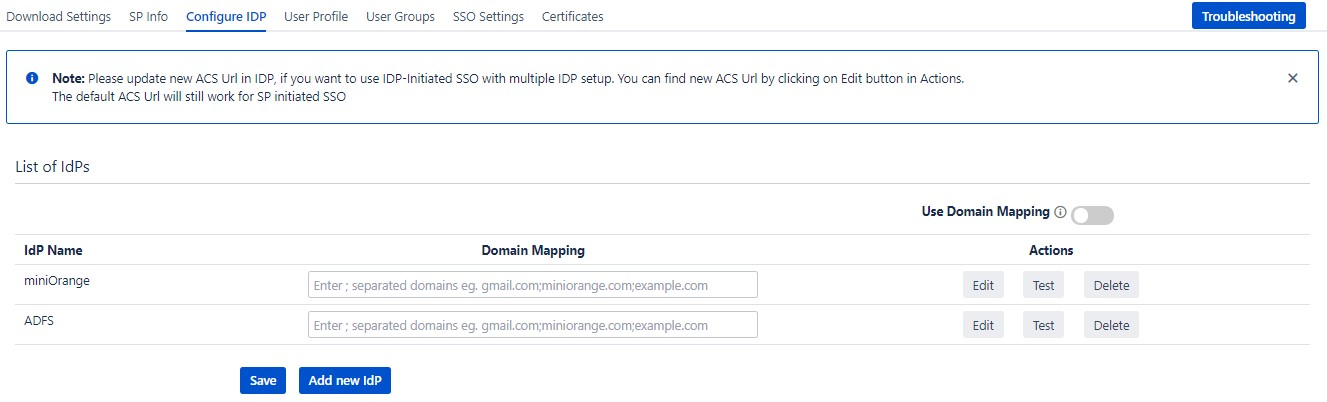 SAML Single Sign On (SSO) into Confluence, Multiple IDP List