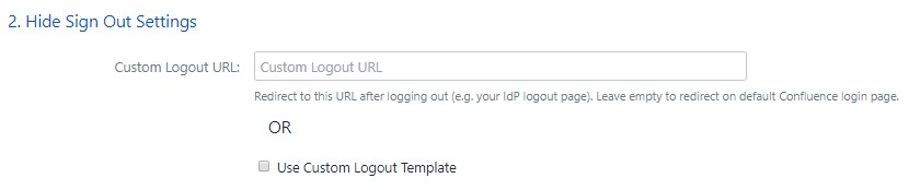 SAML Single Sign On (SSO) into Confluence, Sign Out settings