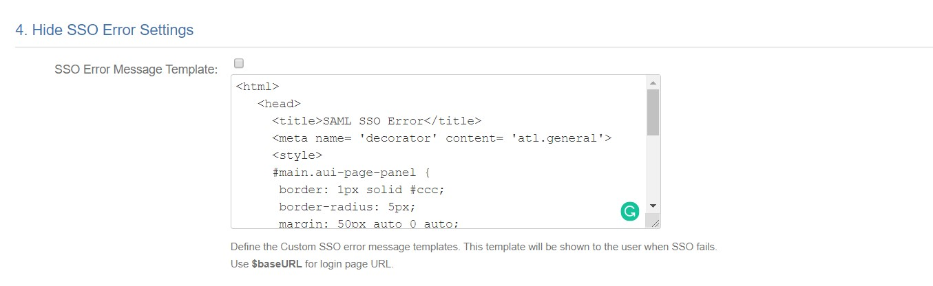 SAML Single Sign On (SSO) into Fisheye/Crucible, SSO error template settings