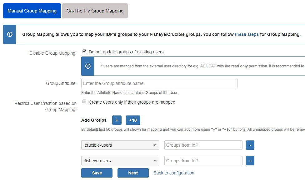SAML Single Sign On (SSO) into Fisheye/Crucible, SSO - Manual group mapping