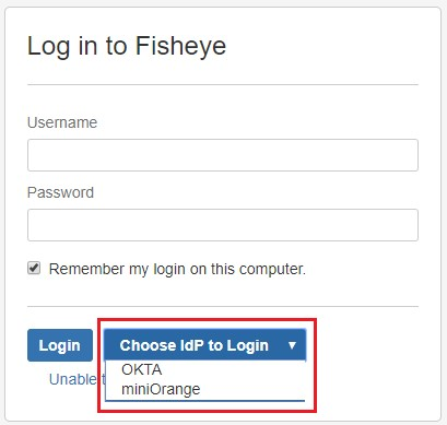 SAML Single Sign On (SSO) into Fisheye/Crucible, Login form for Multiple IDP configuration