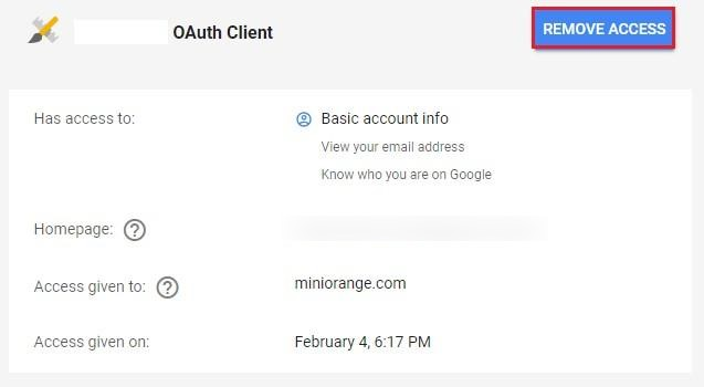 OAuth / OpenID Single Sign On (SSO) using Google Apps, remove access