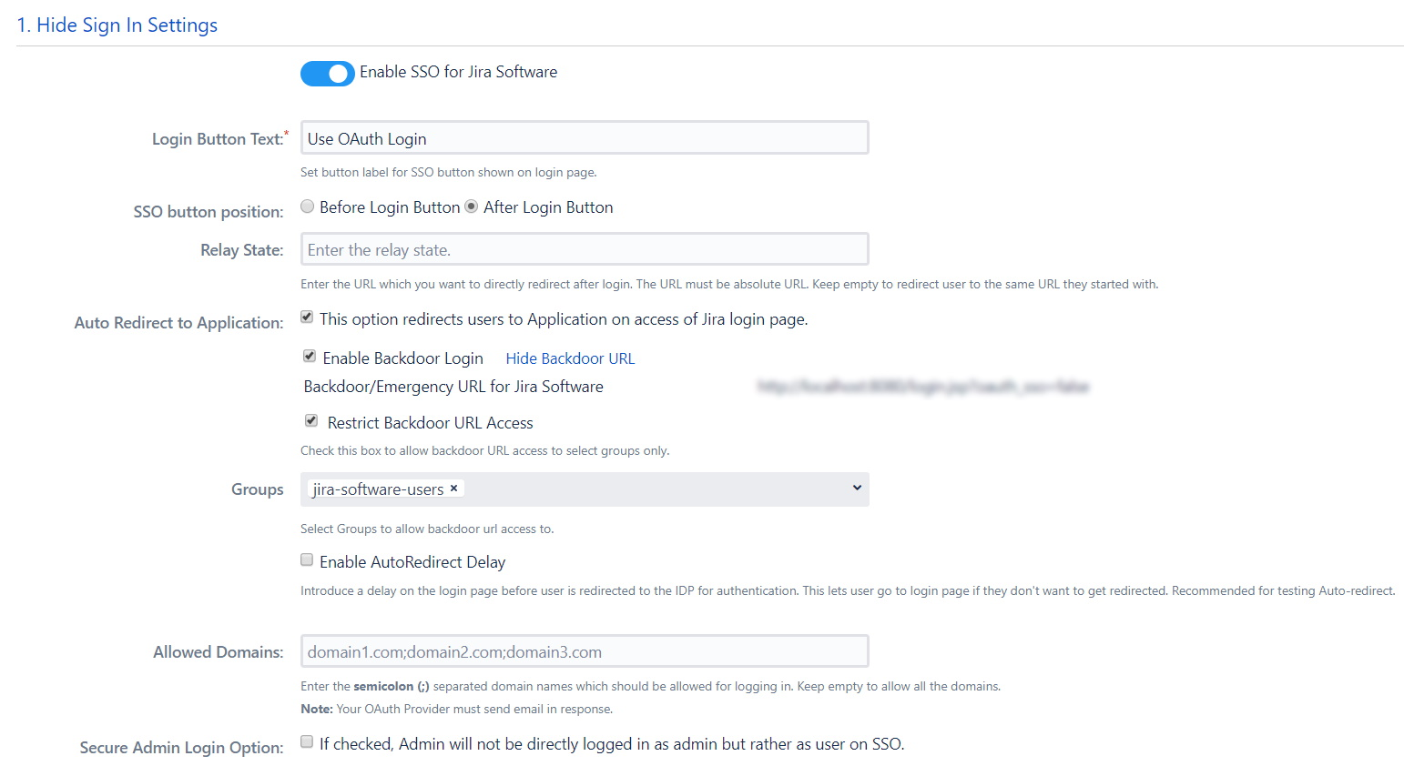 OAuth / OpenID Single Sign On (SSO) into Jira , Sign In Settings