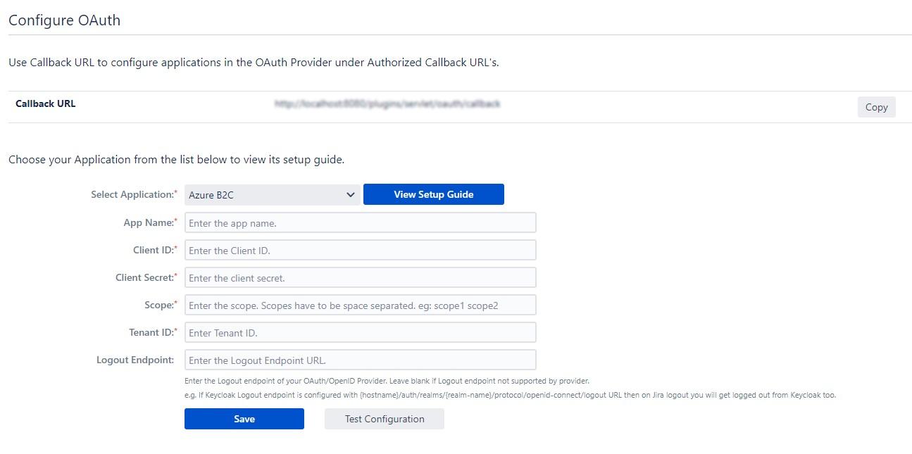 Jira OAuth / OpenID SSO using Azure B2C Configure OAuth