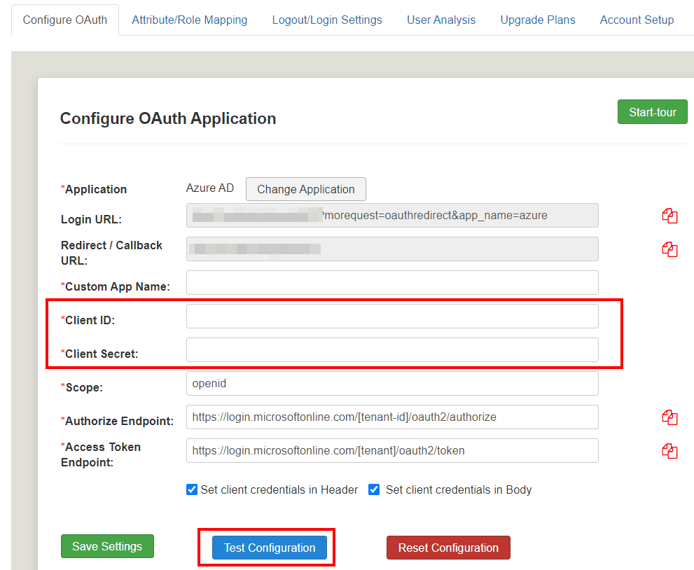 Joomla OAuth Client - Test Configuration
