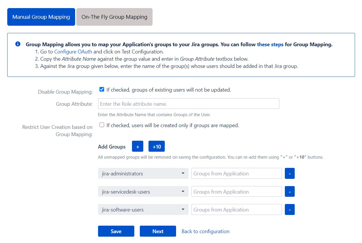 OAuth / OpenID Single Sign On (SSO) into Jira, Manual group mapping