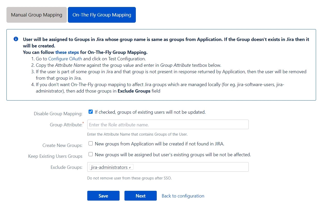 OAuth / OpenID Single Sign On (SSO) into Jira , On the fly group mapping