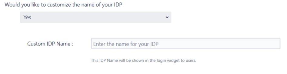 SAML Single Sign On (SSO) into Jira, Quick Setup custom name for IDP