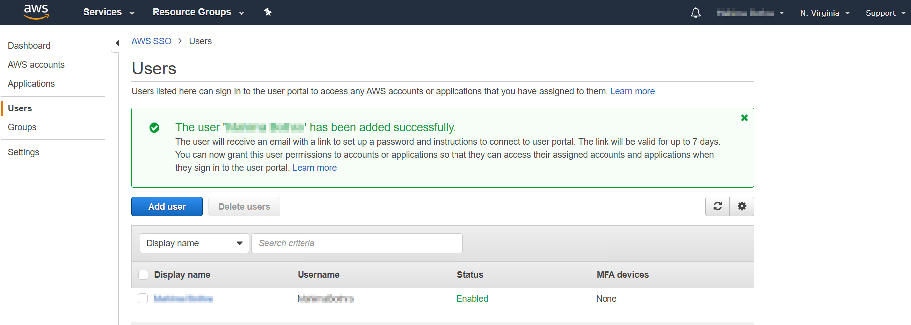 SAML Single Sign On(SSO) using AWS Identity Provider, Added User