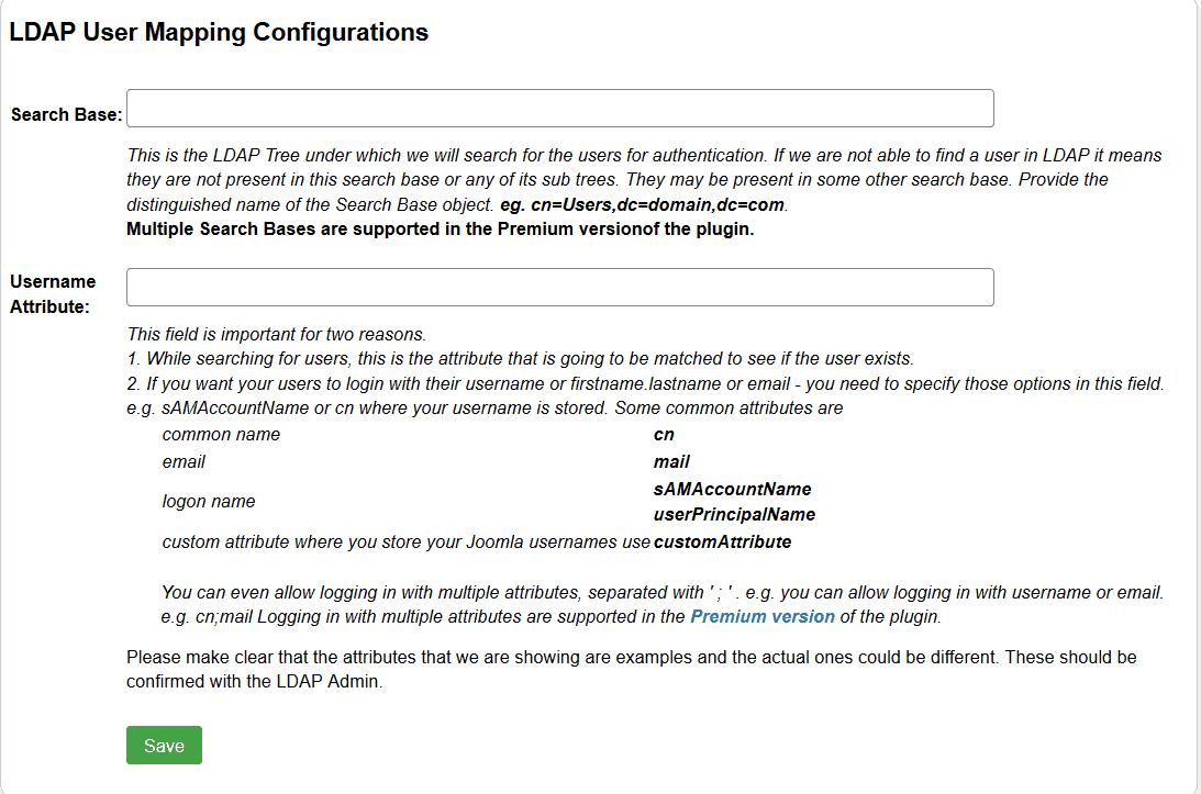 Joomla ldap user mapping configuration