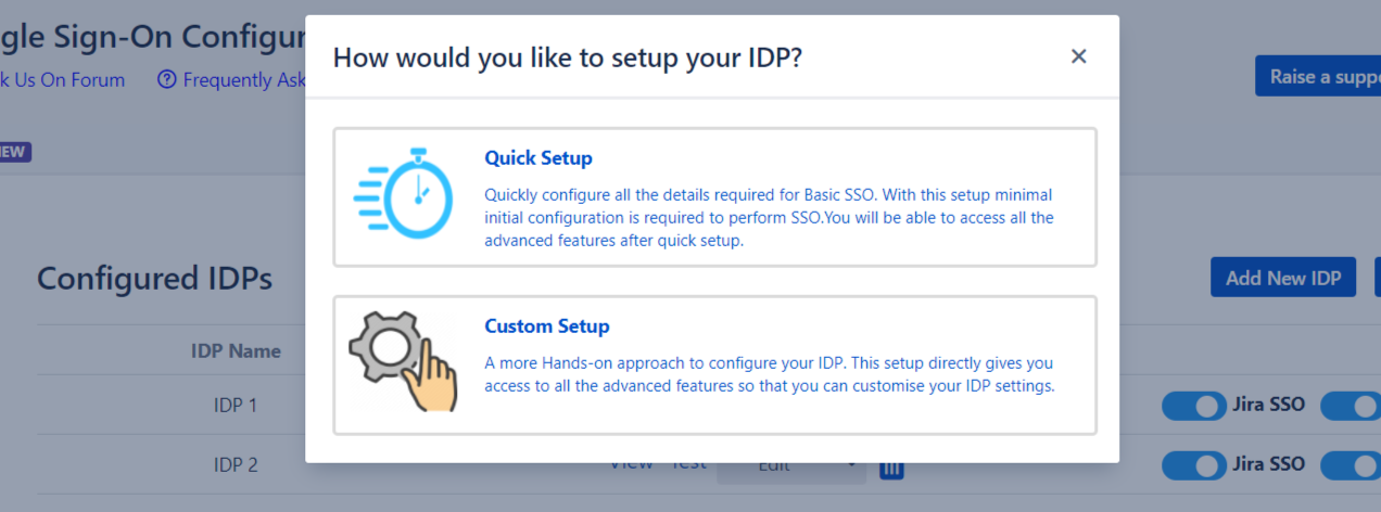 SAML Single Sign On (SSO) into Jira, Add IDP pop-up