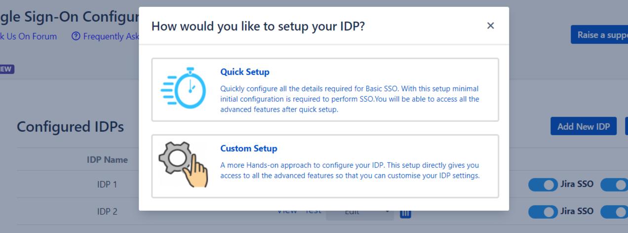 SAML Single Sign On (SSO) into Jira, Add IDP pop-up