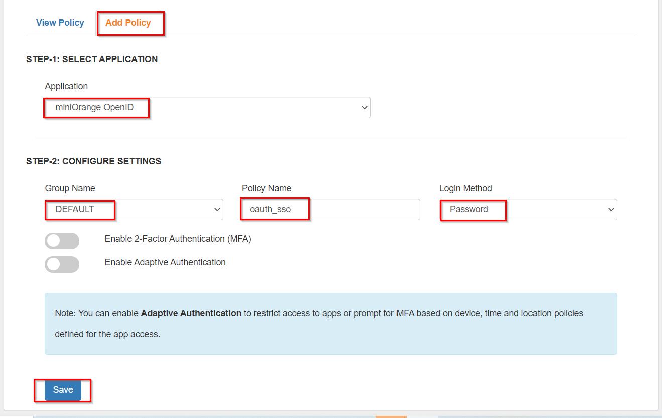 OAuth/OpenID/OIDC Single Sign On (SSO), miniOrange SSO,Create Policy