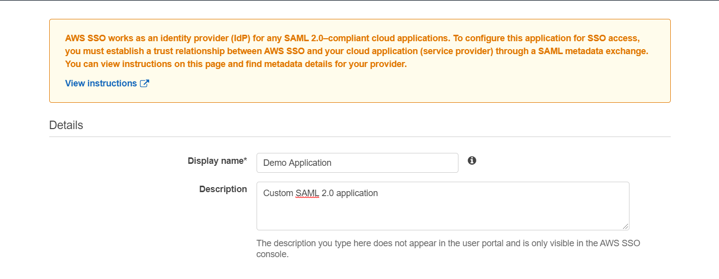 SAML Single Sign On(SSO) using AWS Identity Provider, Details of Application