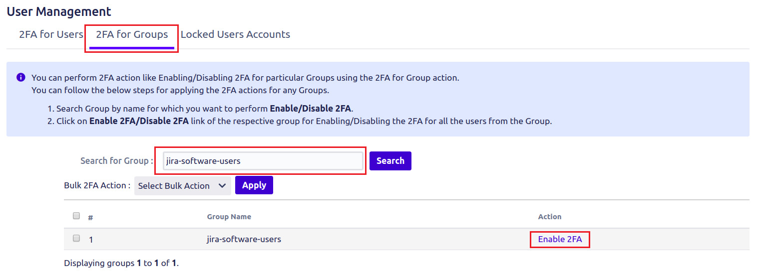 Setup Two Factor (2FA / MFA) Authentication for Jira using OTP, KBA, TOTP methods for single group