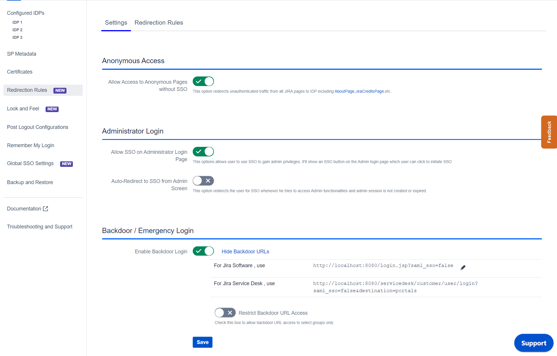 SAML Single Sign On (SSO) into Jira, sso settings