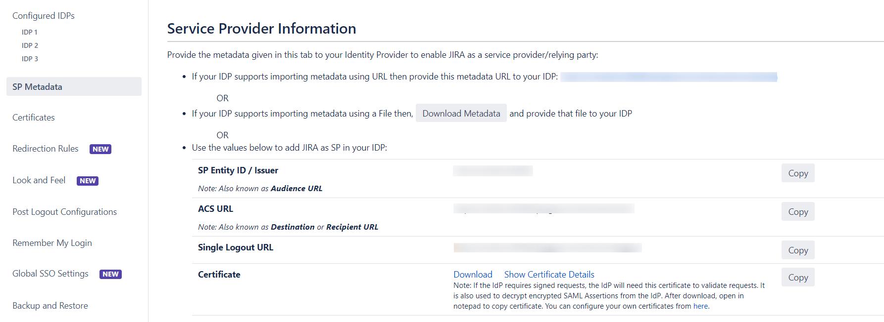 SAML Single Sign On (SSO) into Jira, Custom Setup sp metadata url