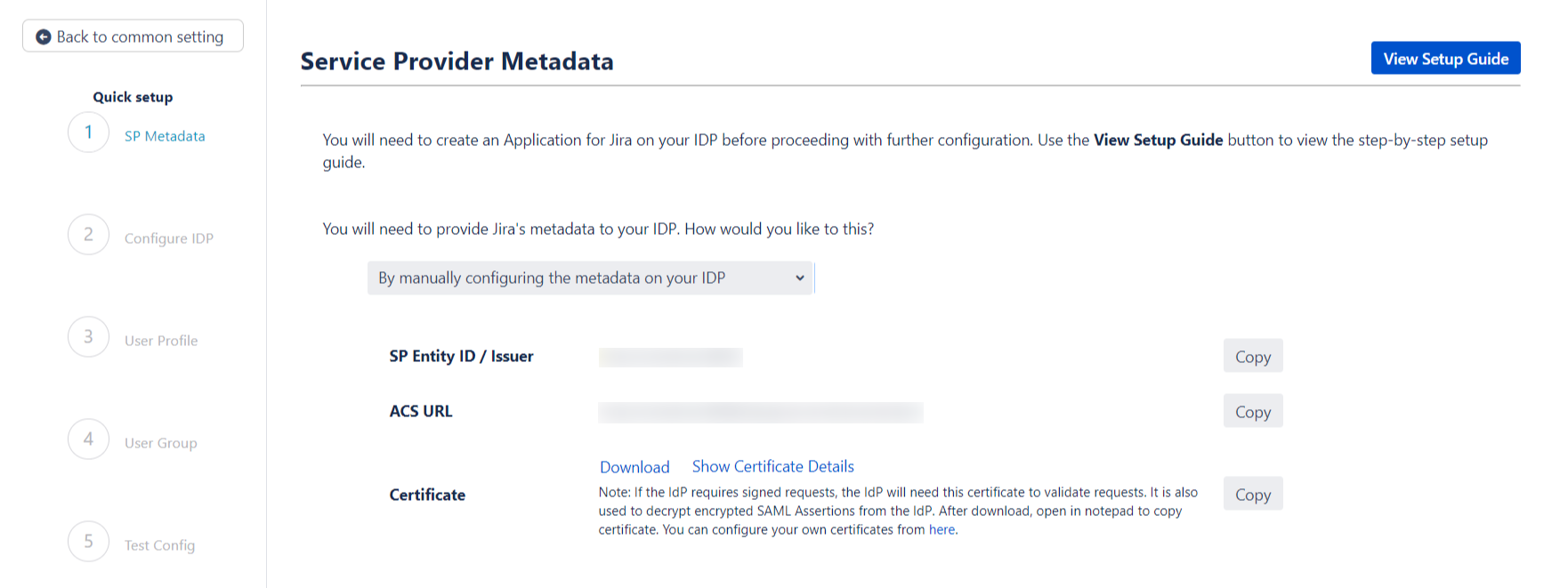 SAML Single Sign On (SSO) into Jira, Quick Setup sp metadata manual