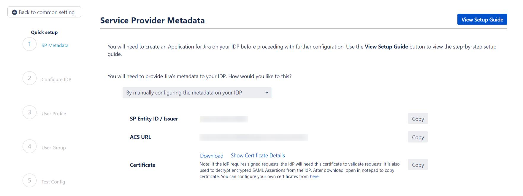 SAML Single Sign On (SSO) into Jira, Quick Setup sp metadata manual