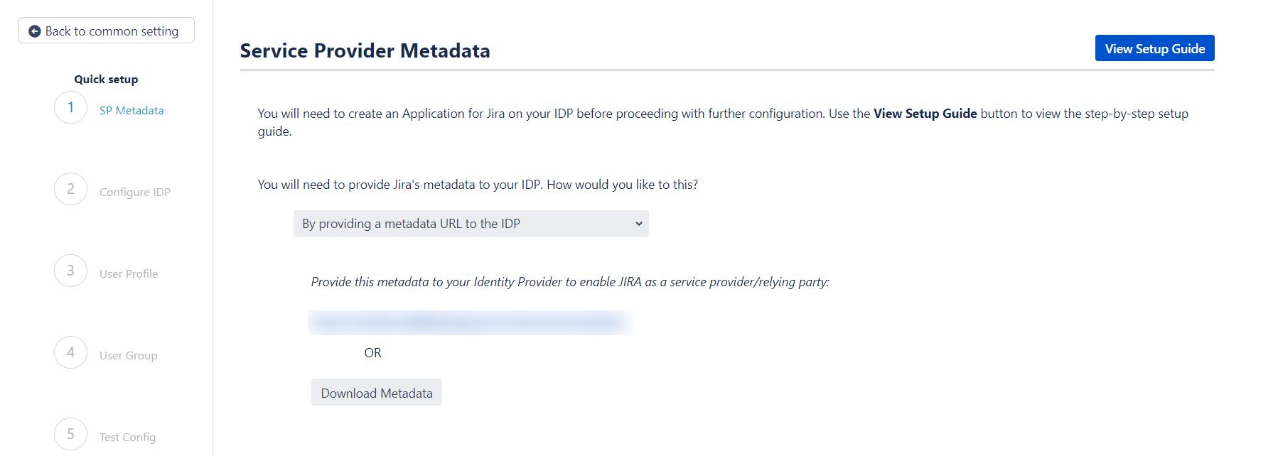 SAML Single Sign On (SSO) into Jira, Quick Setup sp metadata url
