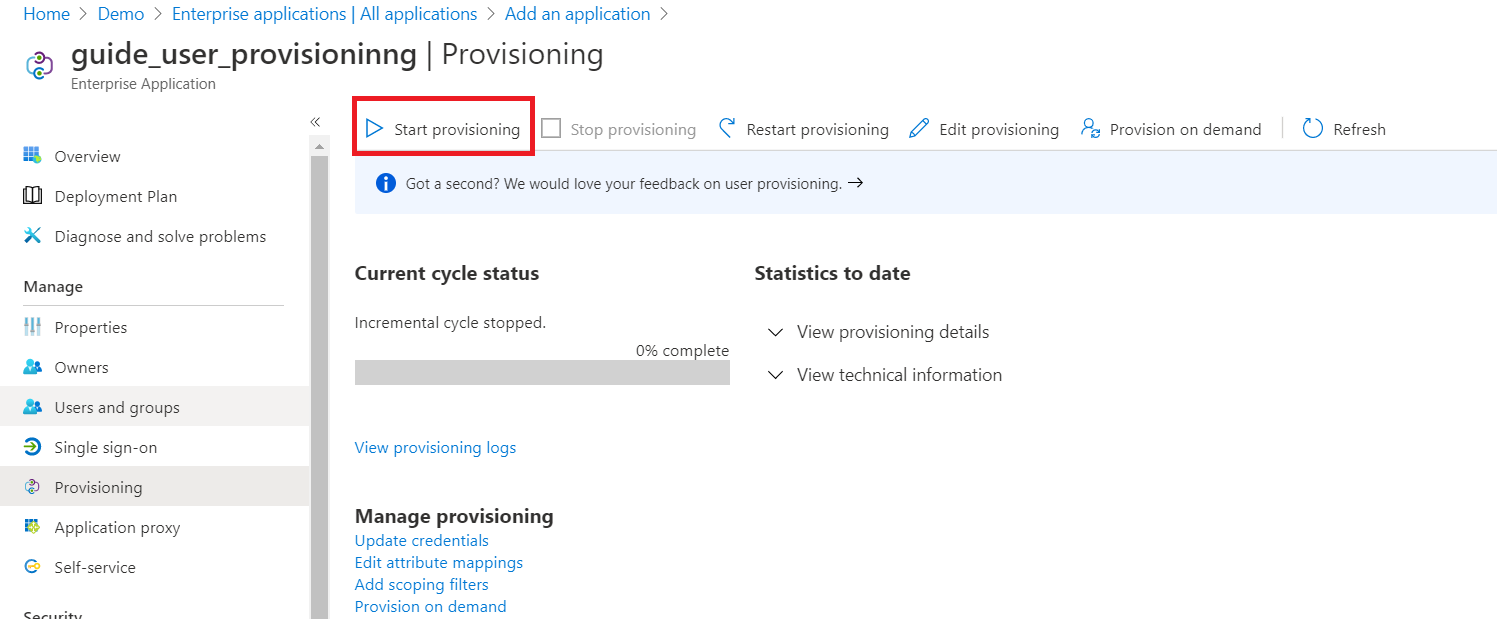 User provisioning with Azure AD of SCIM Standard Start Provisioning option