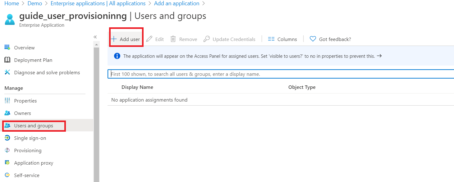 User provisioning with Azure AD of SCIM Standard Assign users and groups to application