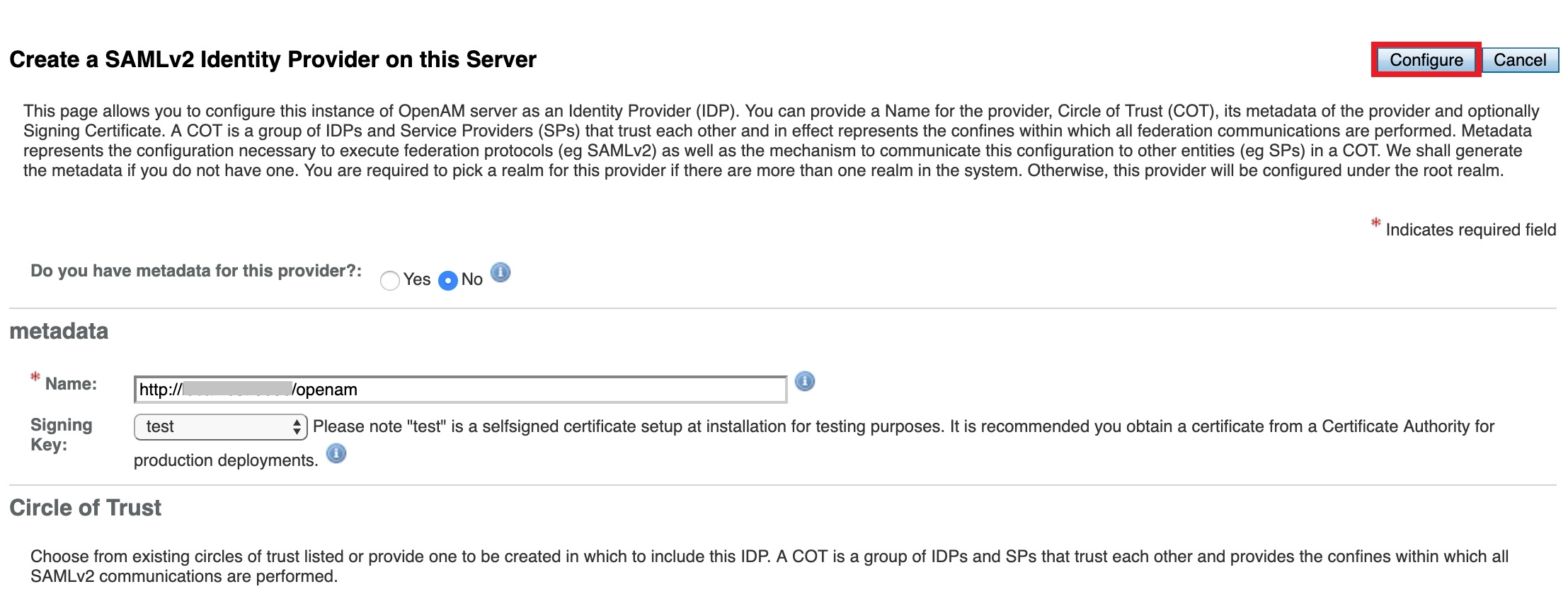 Configure OpenAM  as IDP -SAML Single Sign-On(SSO) for WordPress - OpenAM  SSO Login Create SAMLv2 IdP on server