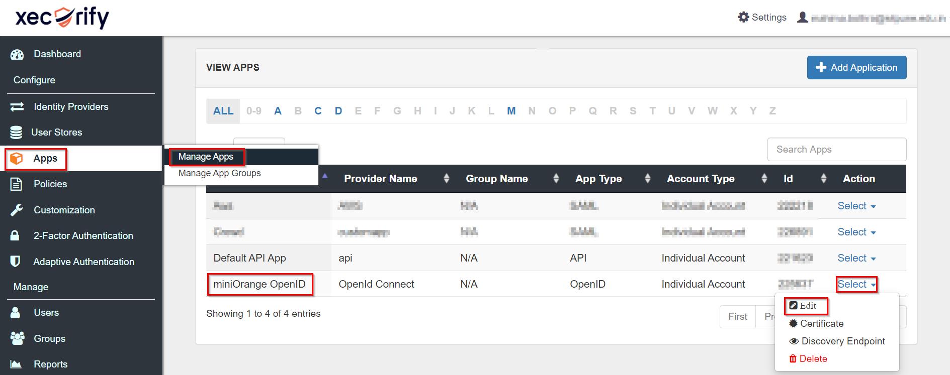 OAuth/OpenID/OIDC Single Sign On (SSO), miniOrange SSO,Application Configured