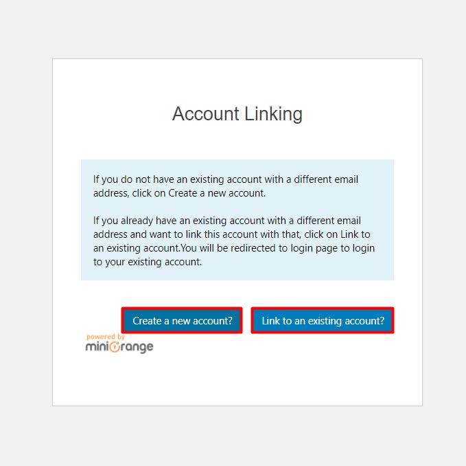 social login Account Link new account