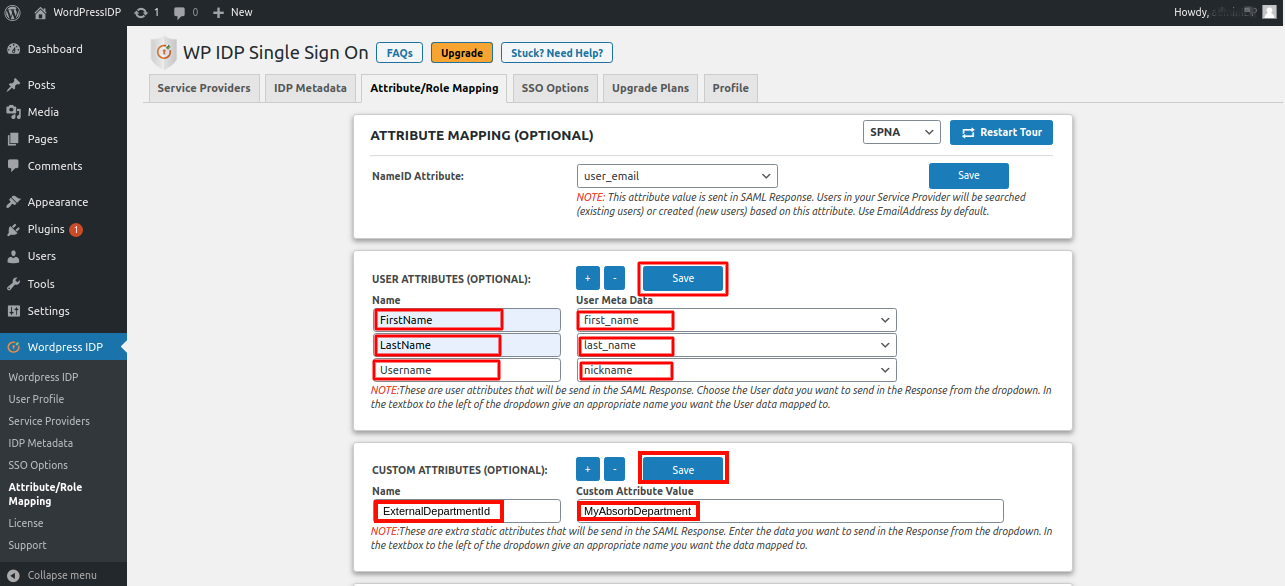 absorb lms as sp attribute mapping settings