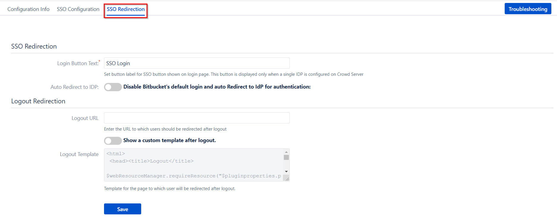 SAML Single Sign On (SSO) Connector for Crowd and Bitbucket, Button and logout settings