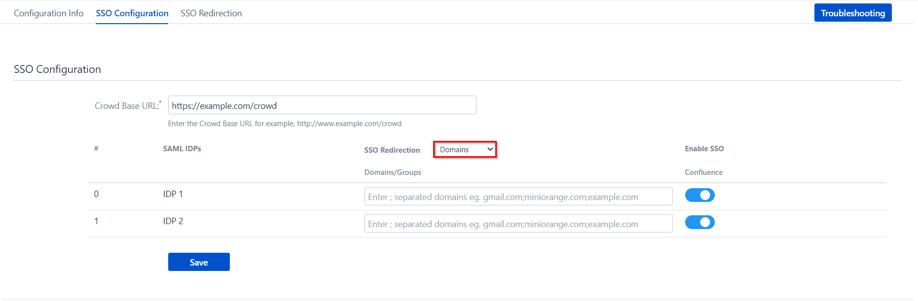 SAML Single Sign On (SSO) Connector for Crowd and Confluence, Domain Mapping