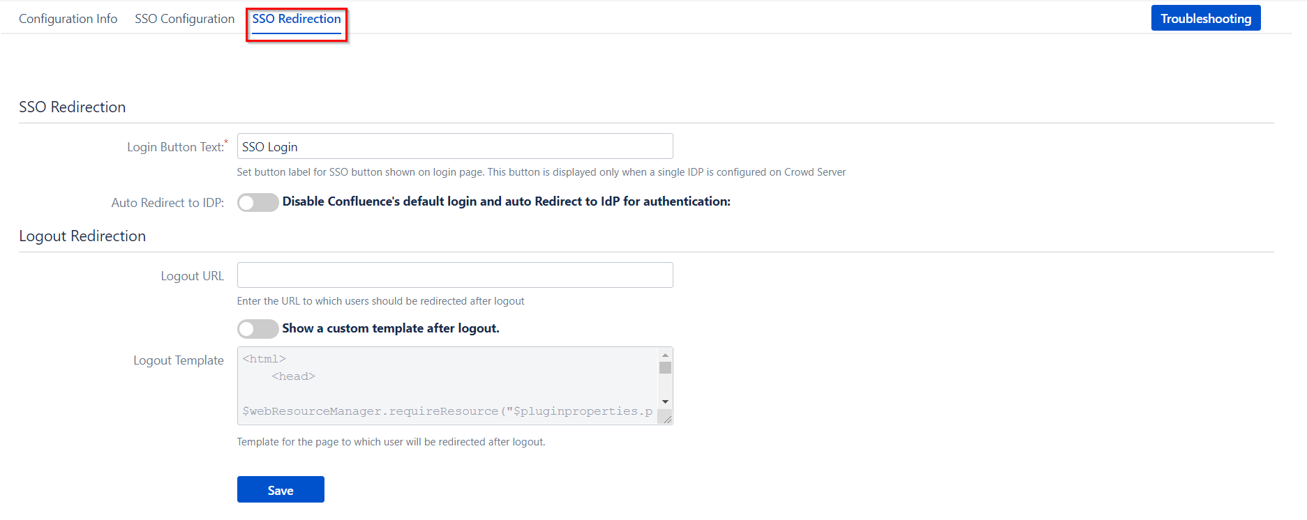 SAML Single Sign On (SSO) Connector for Crowd and Confluence, Button and logout settings