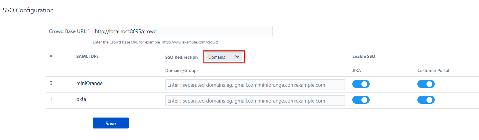 SAML Single Sign On (SSO) Connector for Crowd and Jira, Domain Mapping
