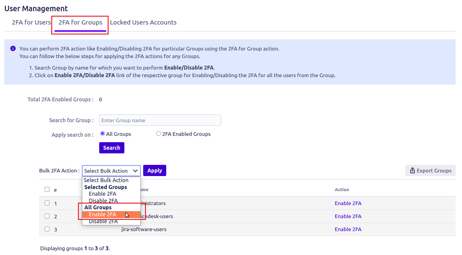 Setup Two Factor (2FA / MFA) Authentication for Jira using OTP, KBA, TOTP methods enable all group