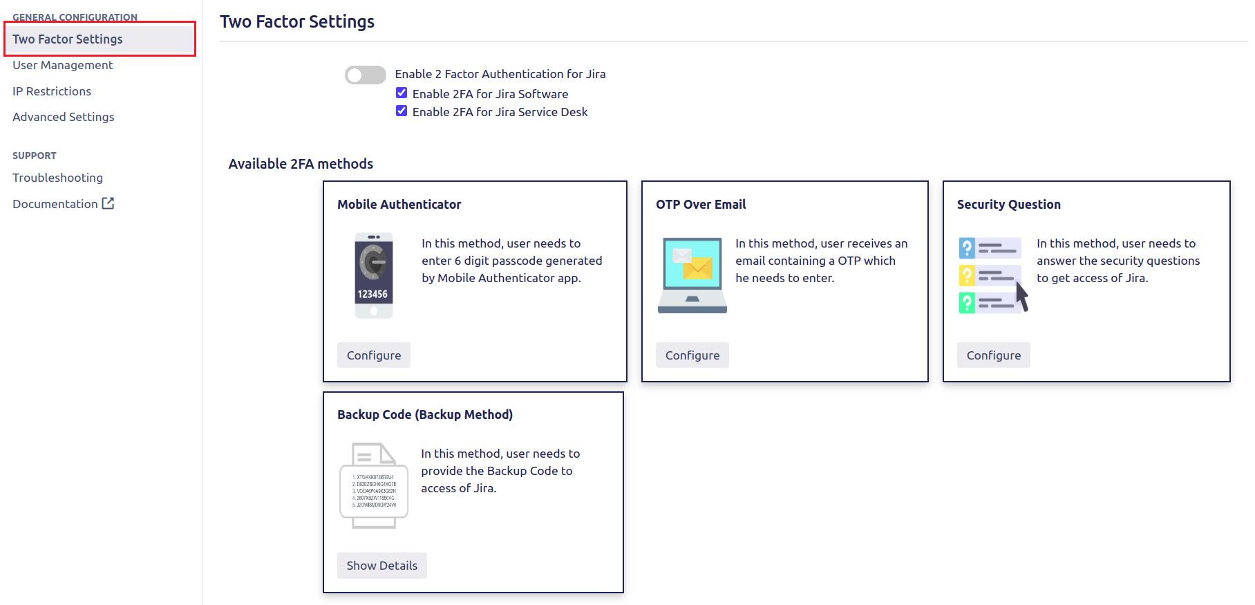 Setup Two Factor (2FA / MFA) Authentication for Jira using OTP, KBA, TOTP methods settings