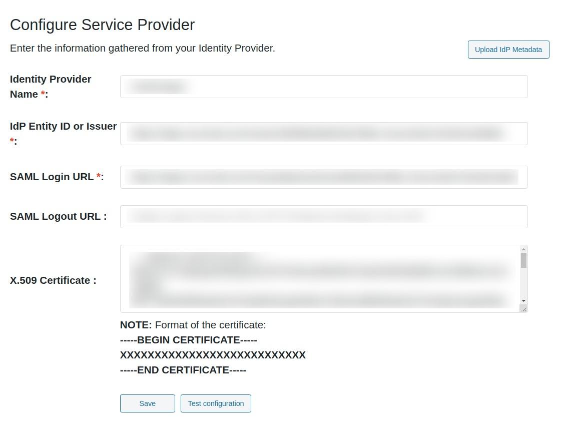 wordpress saml upload metadata