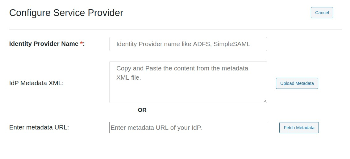 wordpress saml upload metadata
