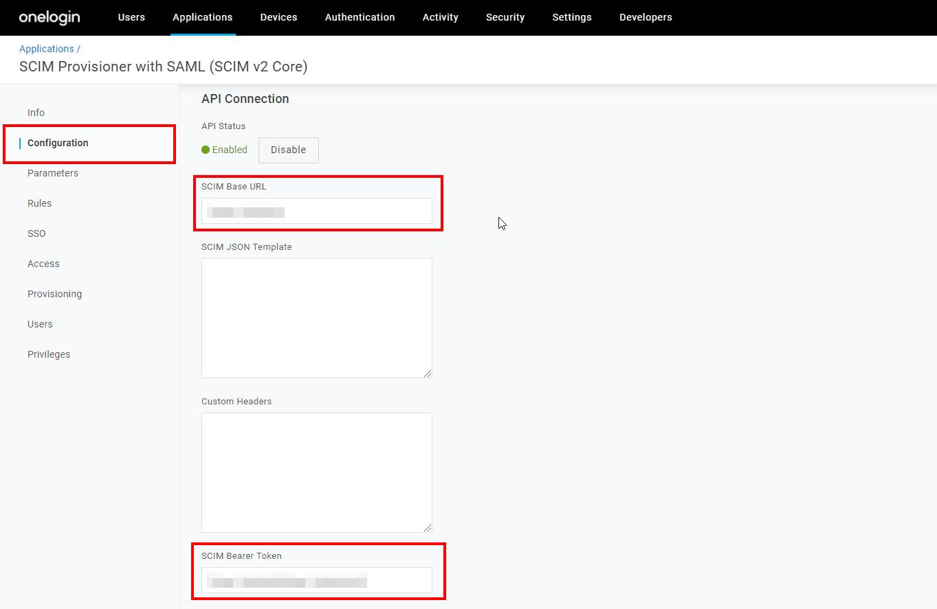 SCIM OneLogin app Configuration