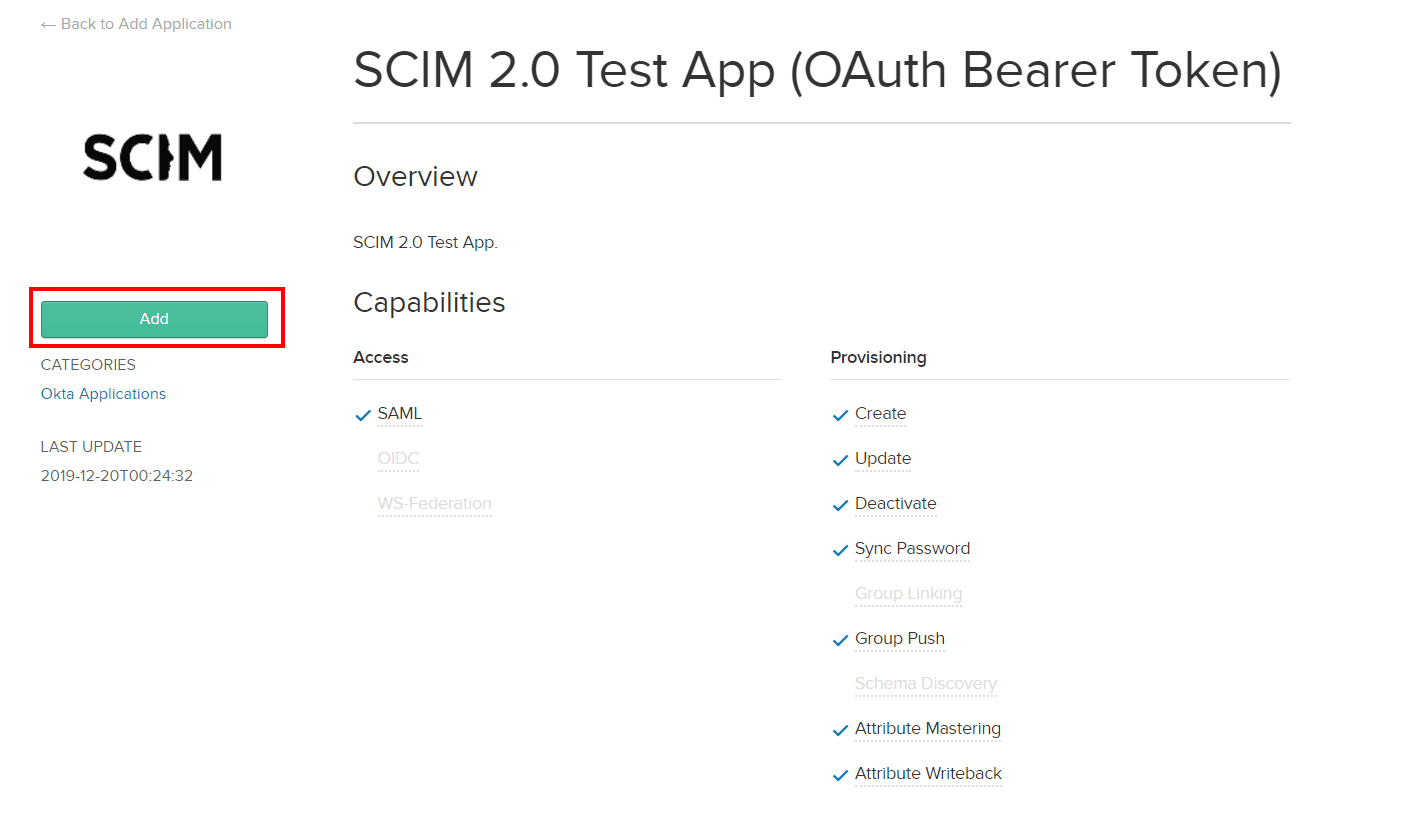 User provisioning with Okta of SCIM Standard - add SCIM application