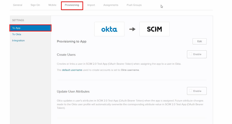 SCIM OKTA User Provisioning