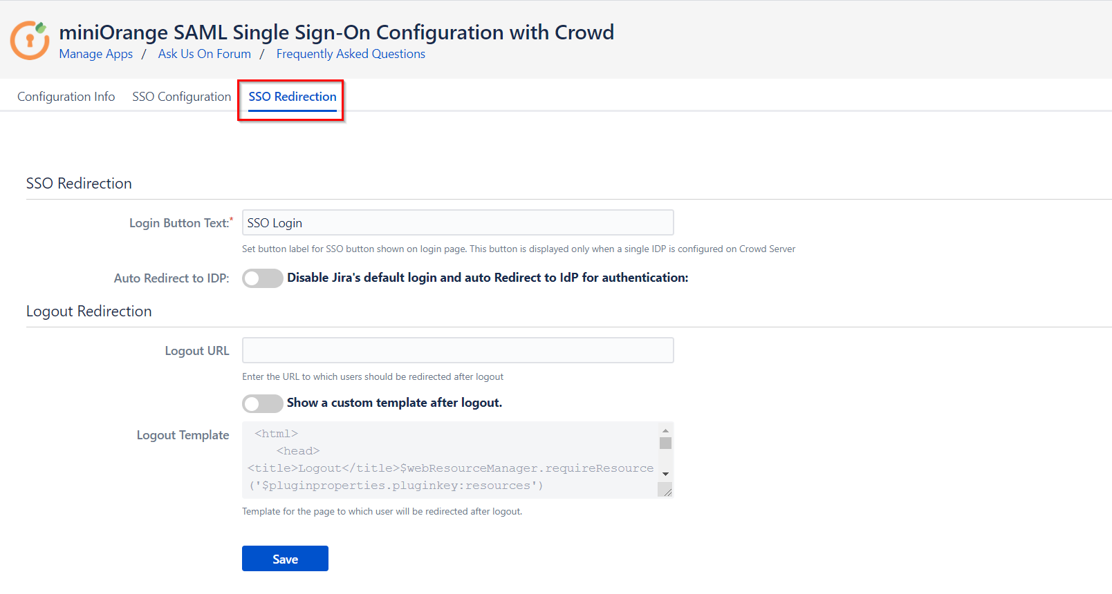 SAML Single Sign On (SSO) Connector for Crowd and Jira, Button and logout settings